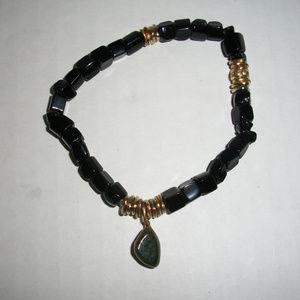 Black Tourmaline Natural Emerald Bracelet